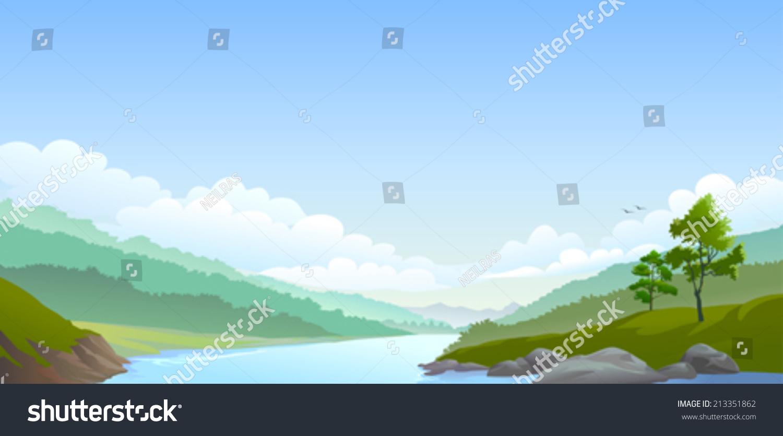 乡村河流,山和广阔的蓝天-背景/素材,自然-海洛创意()
