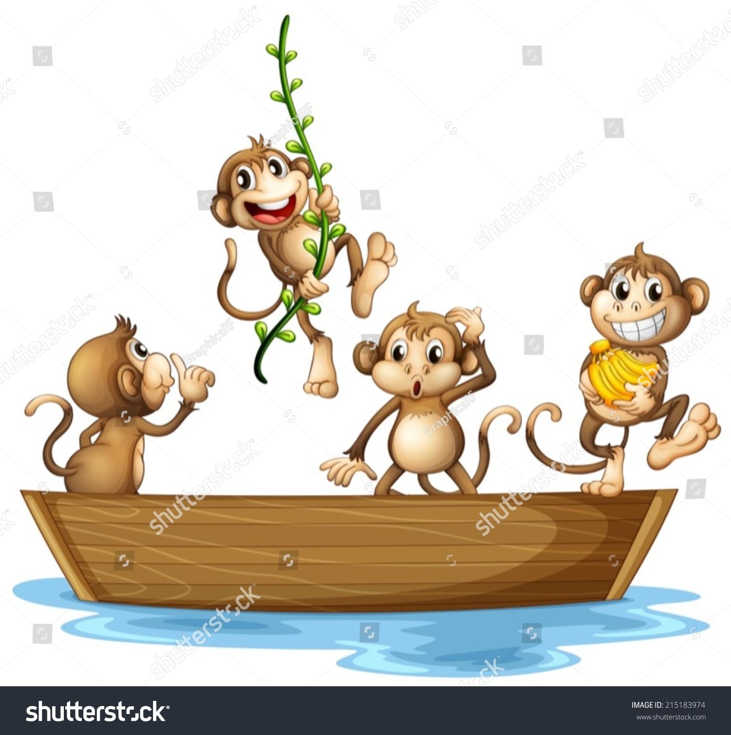 许多猴子在船上的插图-动物/野生生物-海洛创意()-合