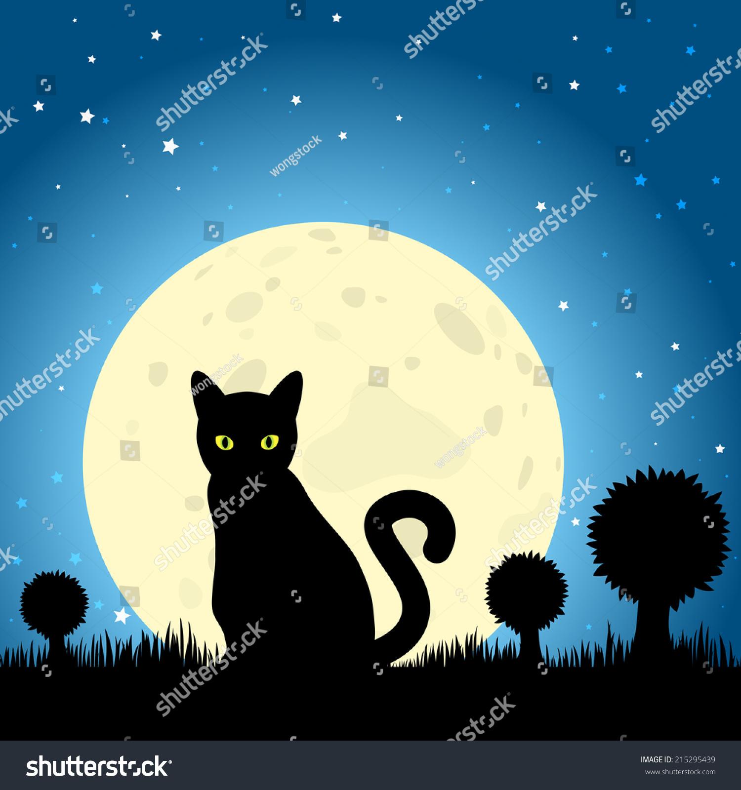 万圣节黑猫轮廓对月亮的夜空.eps10向量-动物/野生