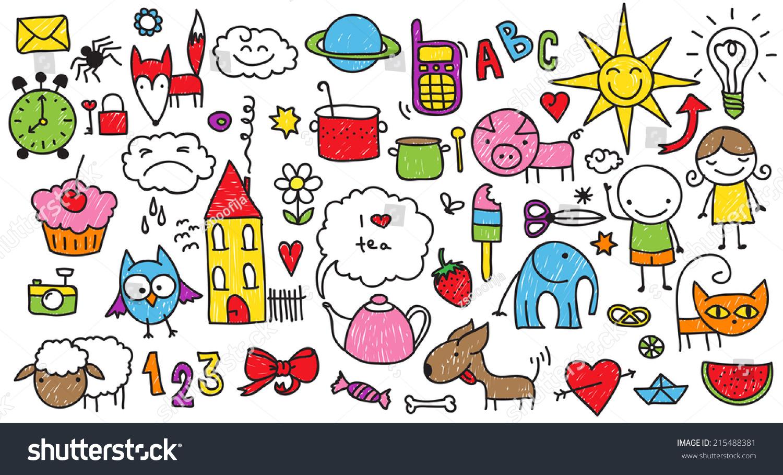 收集可爱的儿童绘画的孩子,动物,自然,对象-动物/野生