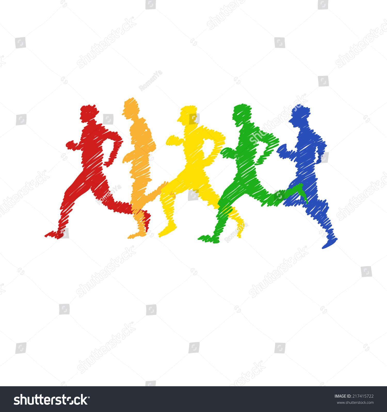 体育人抽象的白色背景,矢量插图-运动/娱乐活动,抽象