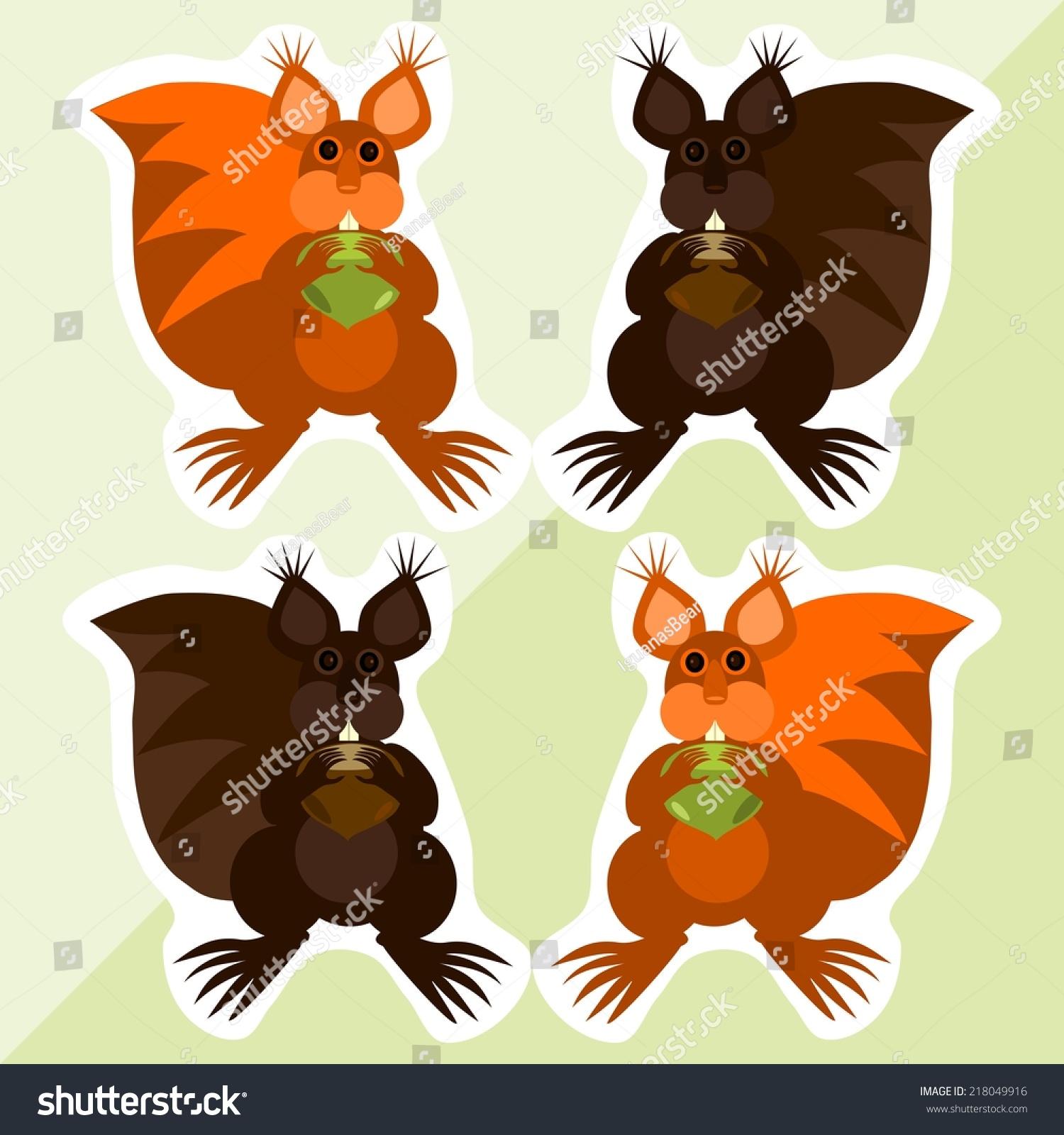 松鼠榛子——可爱的彩色贴纸-动物/野生生物,科技-()