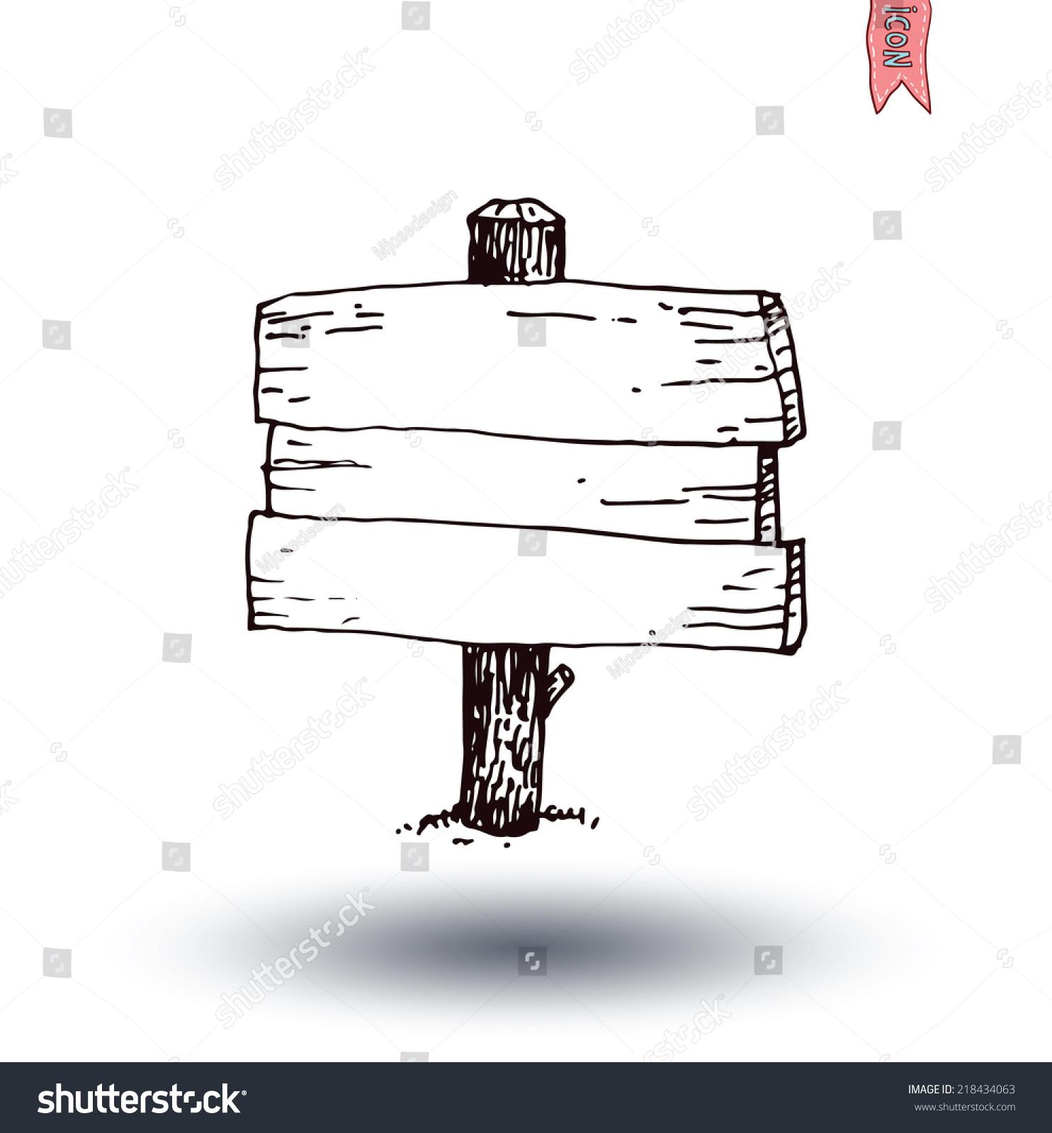 手绘木制的路标.矢量插图