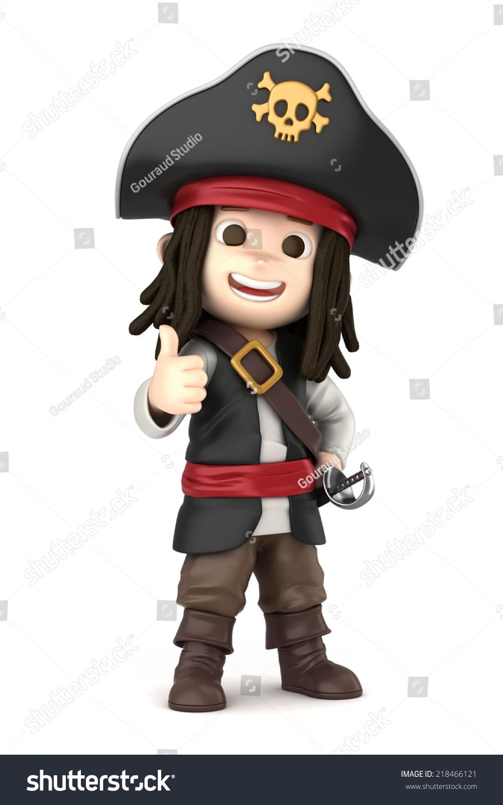 d渲染一个男孩穿着万圣节海盗服装-人物