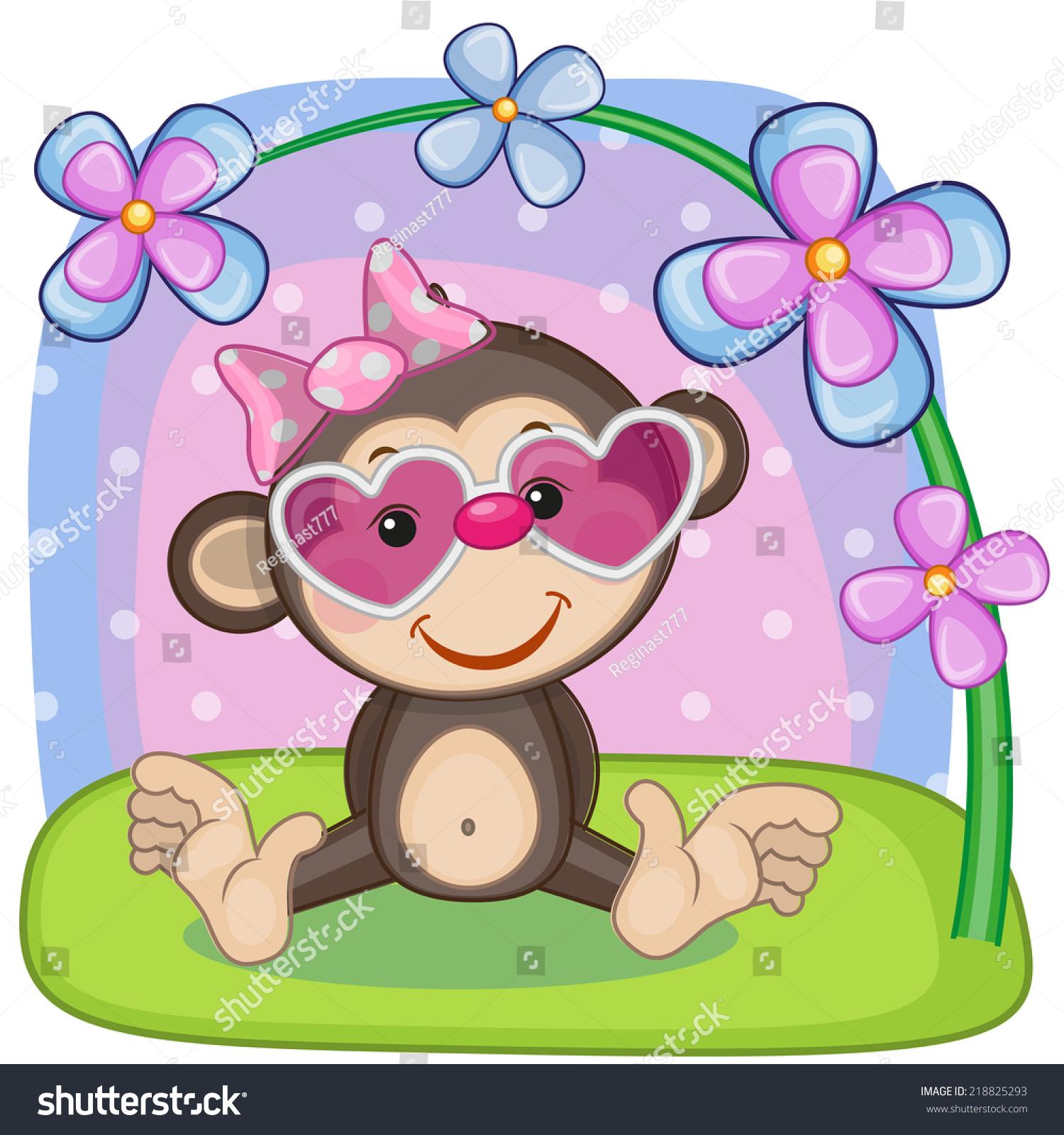 用鲜花贺卡猴子-动物/野生生物-海洛创意(hellorf)