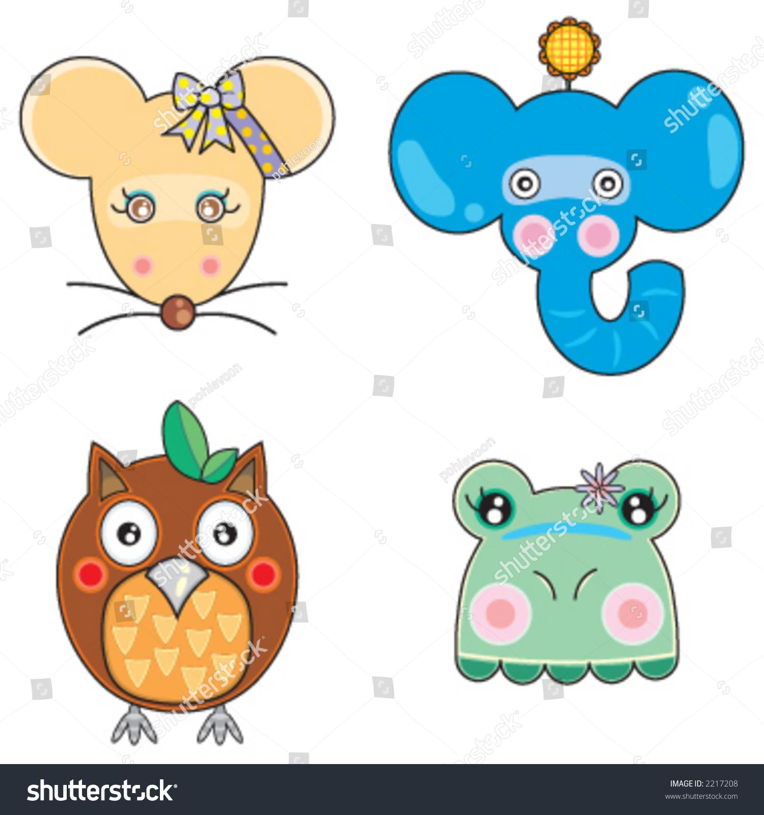 04向量可爱动物的脸-插图/剪贴图-海洛创意(hellorf)