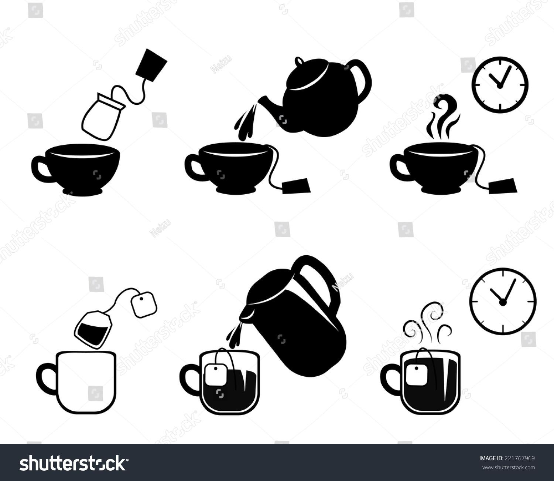 指令泡茶矢量图标-食品及饮料