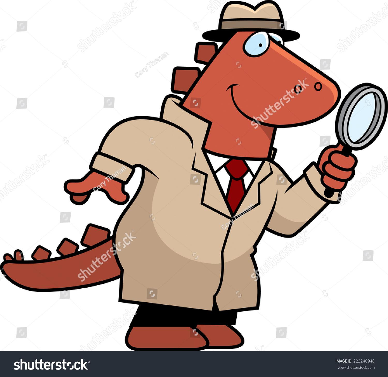 恐龙的卡通插图侦探用放大镜