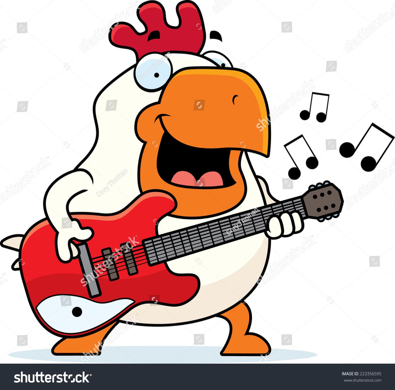 一只公鸡在弹奏一把电吉他的卡通插图.-动物/野生生物