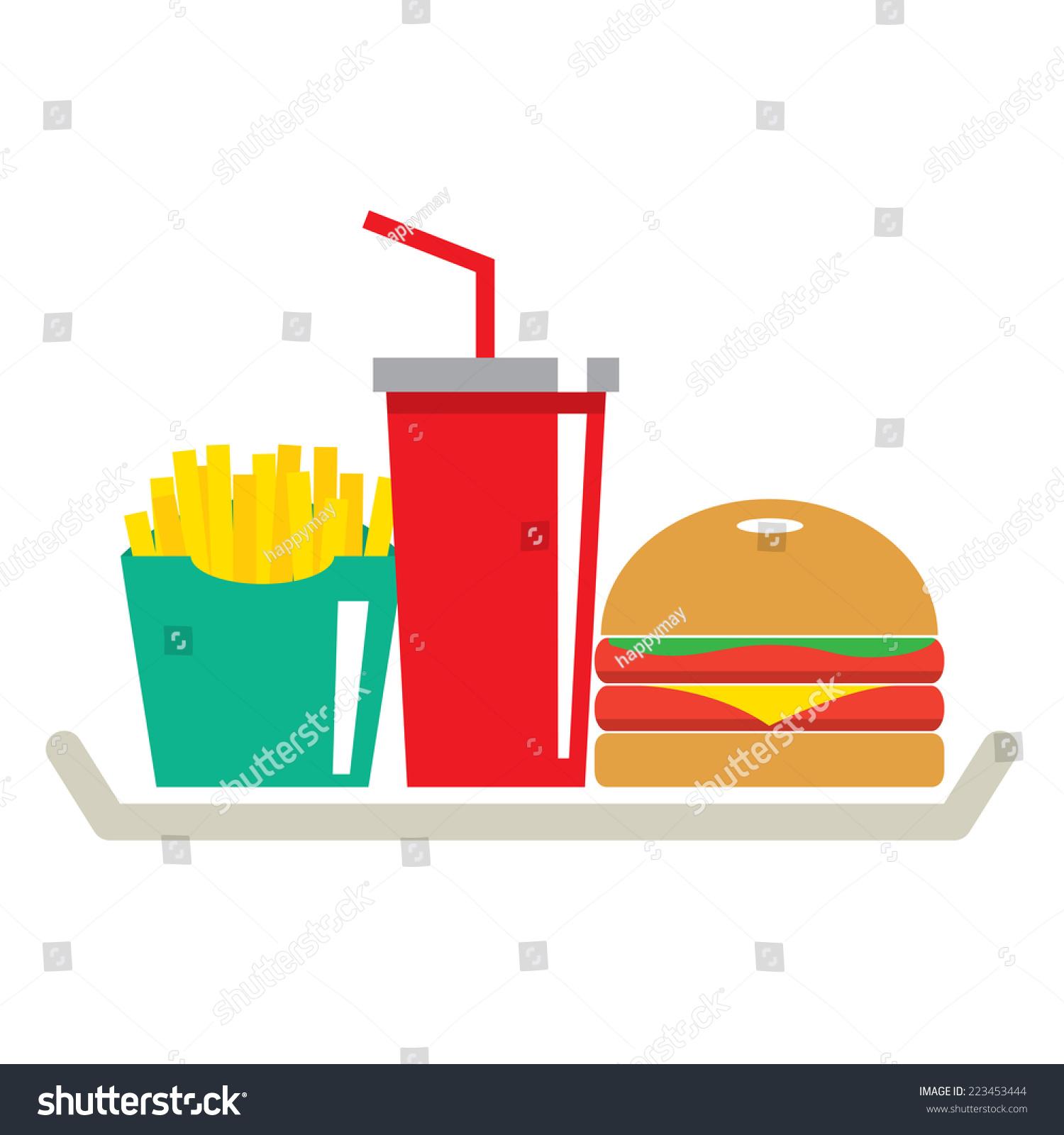 汉堡,薯条和一杯可乐在托盘矢量插图-食品及饮料-海洛