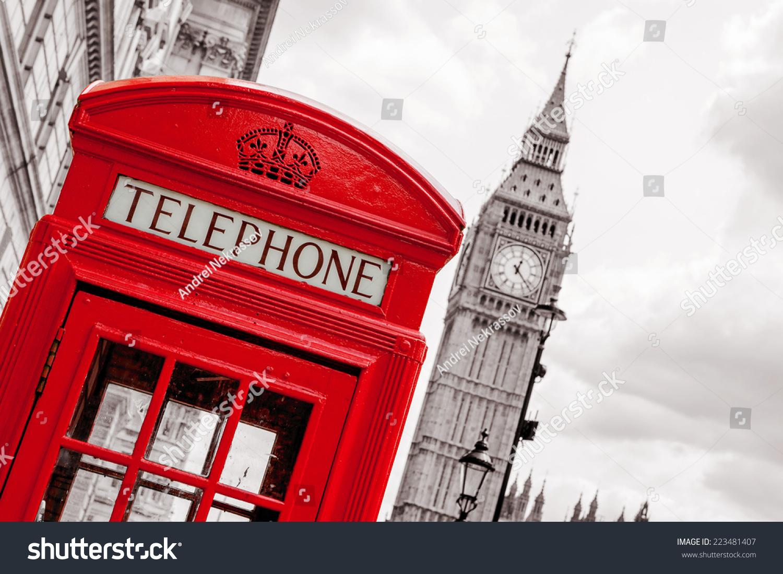红色电话亭和大本钟.英国伦敦-建筑物/地标,复古风格
