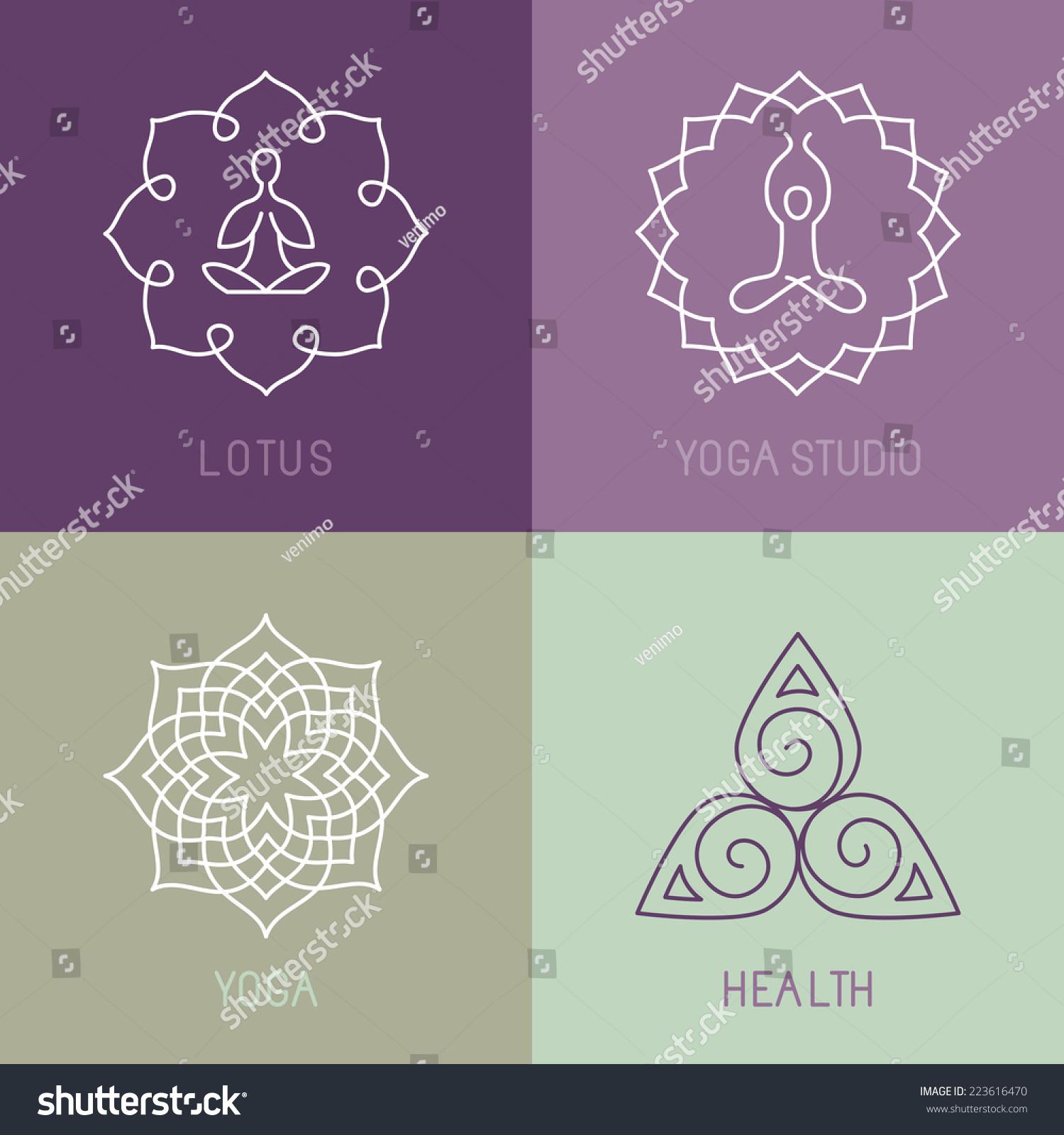 瑜伽矢量图标和圆线徽章——平面设计元素概述风格或