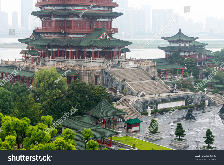 藤王阁,南昌,传统的中国古代建筑,木头做的.-建筑物