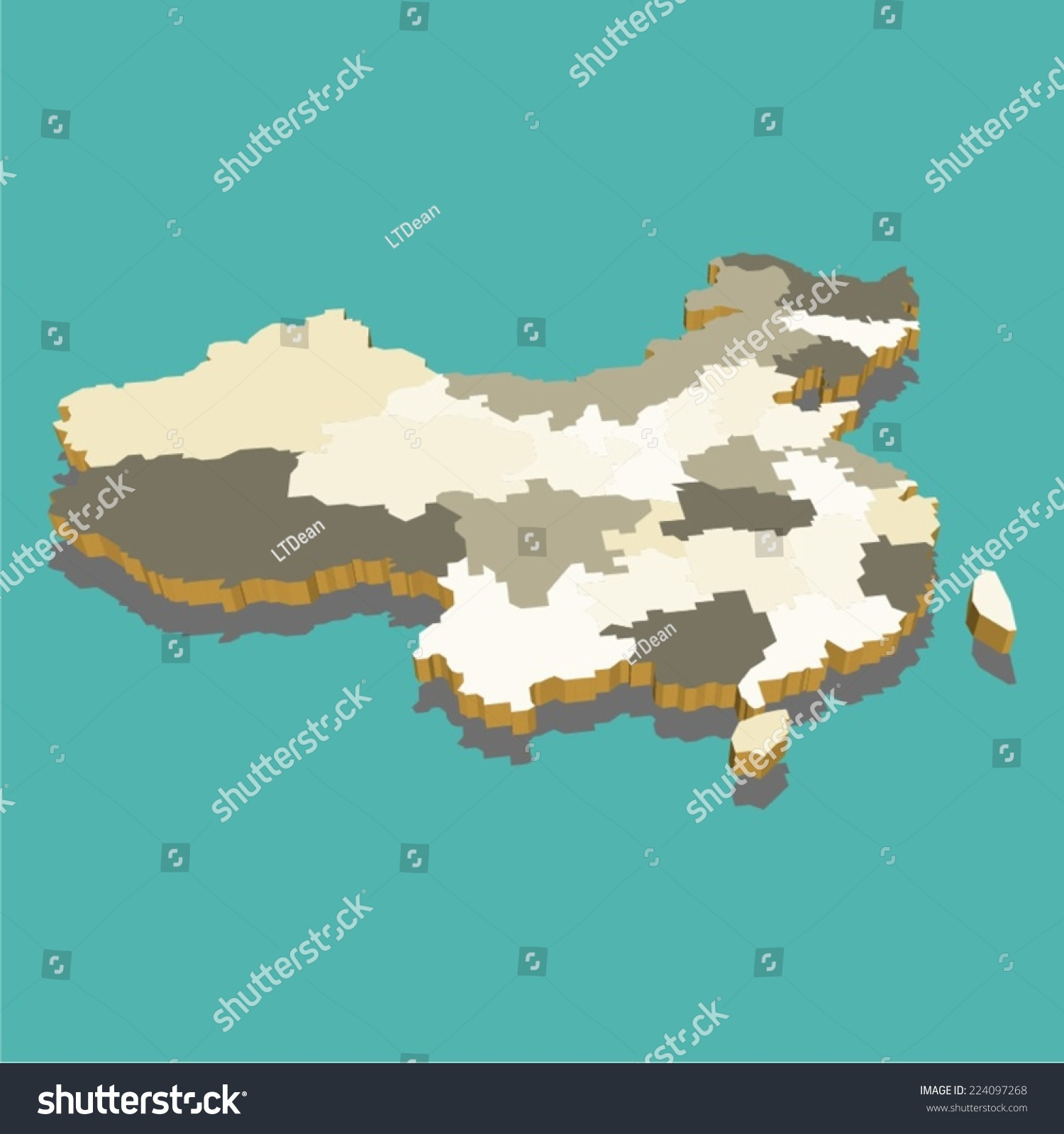 中国地图三维向量-自然,其它-海洛创意(hellorf)-中国