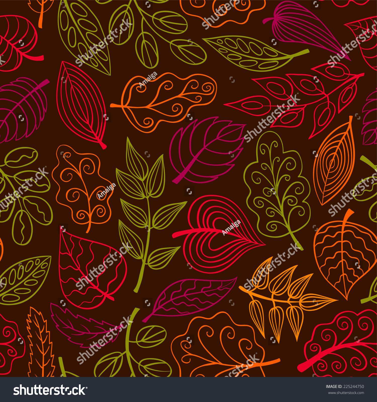 手绘黑暗无缝模式用树叶.向量素描背景.-背景/素材