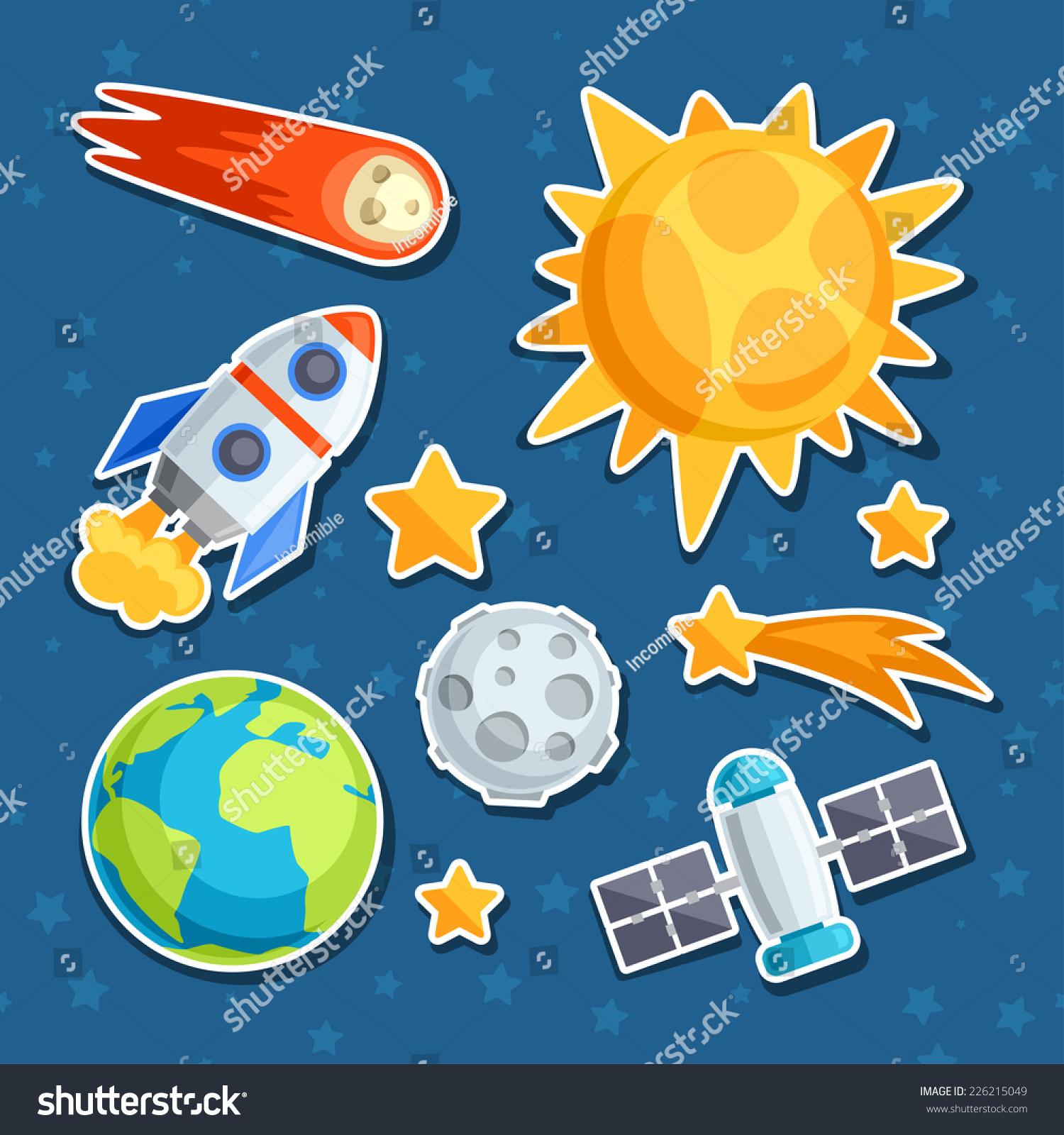 宇宙图标的太阳系,行星和天体.