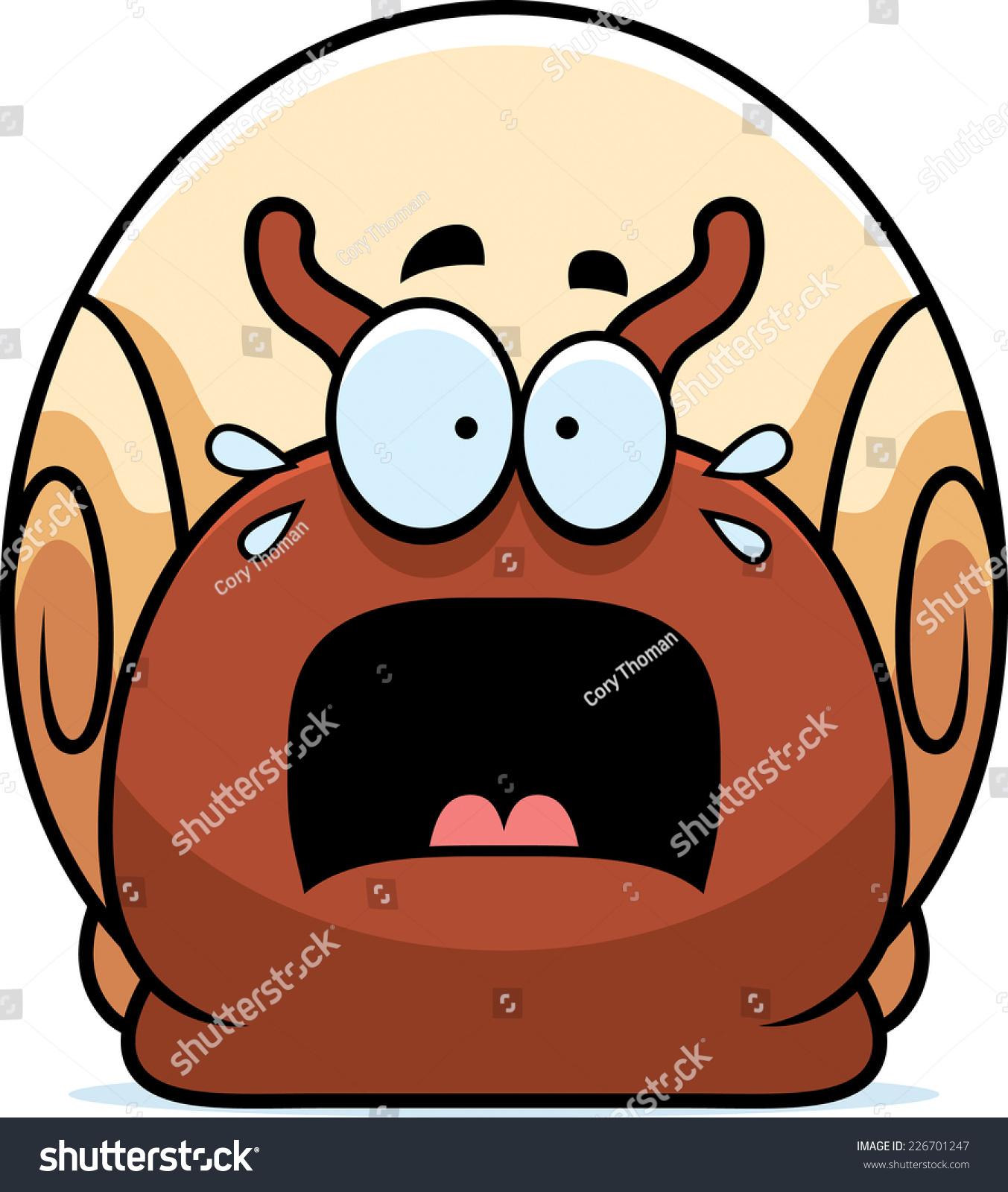 蜗牛的卡通插图看害怕.-动物/野生生物-海洛创意()-.