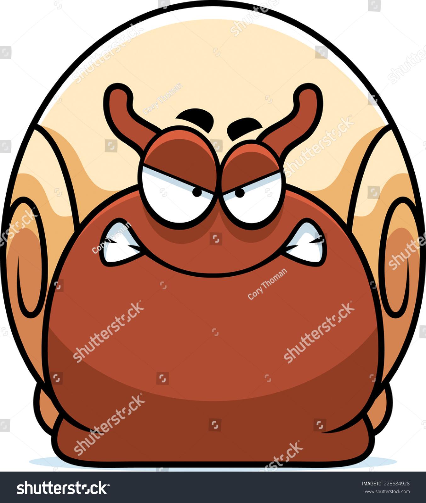 蜗牛的卡通插图看起来很生气