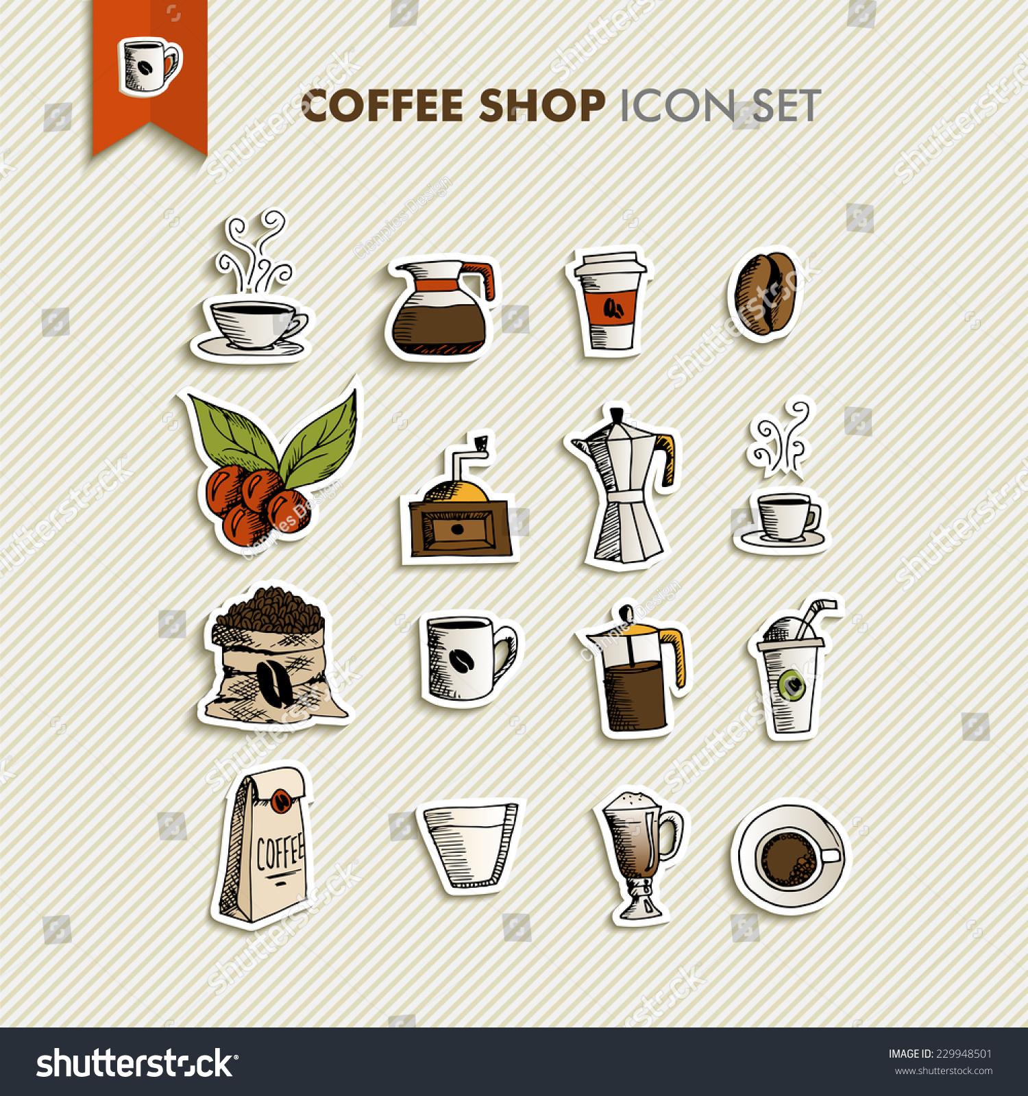 手绘咖啡店图标集设计.菜单