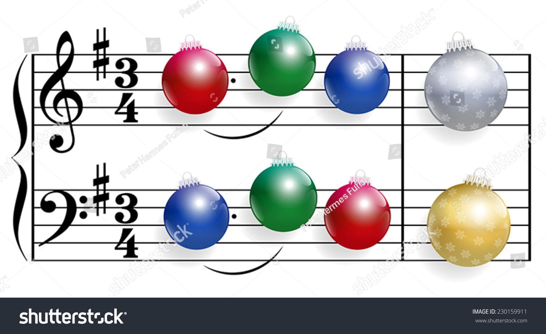 圣诞歌曲组成的彩色闪亮的圣诞树球代替笔记.白色背景