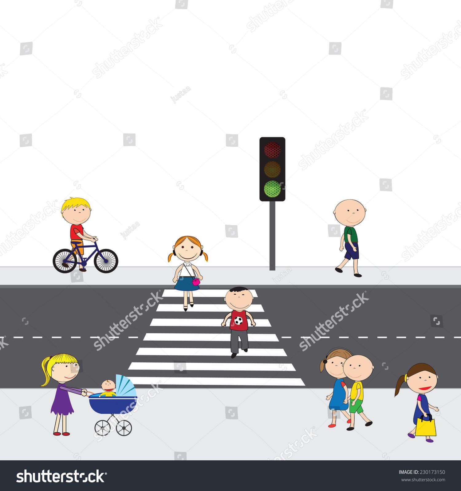插图的人过马路-人物,公园/户外-海洛创意(hellorf)-.