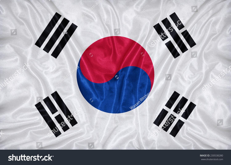 韩国国旗在织物纹理图案图片