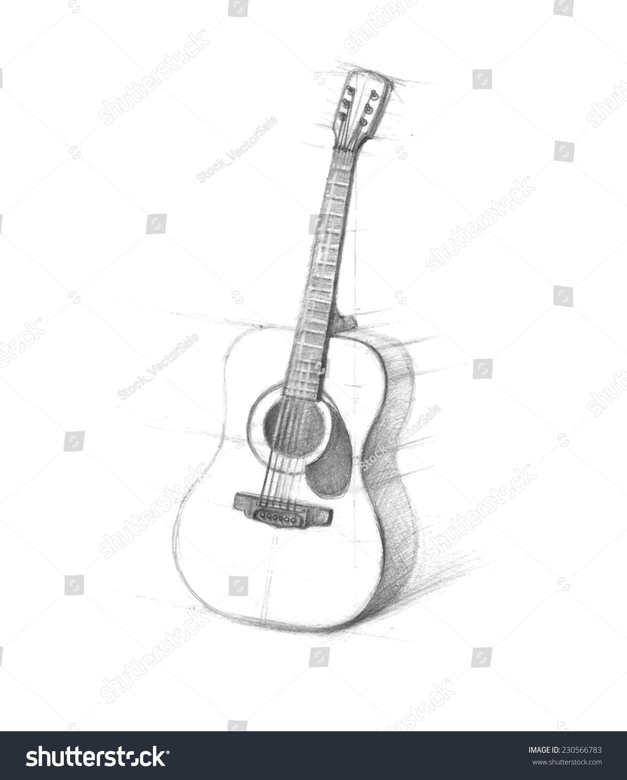 用铅笔画白背景的吉他素描.六弦吉他手画.涂鸦.-艺术