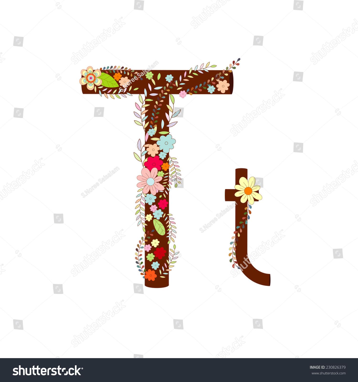 t字母花矢量字体设计-自然,符号/标志-海洛创意()-合.