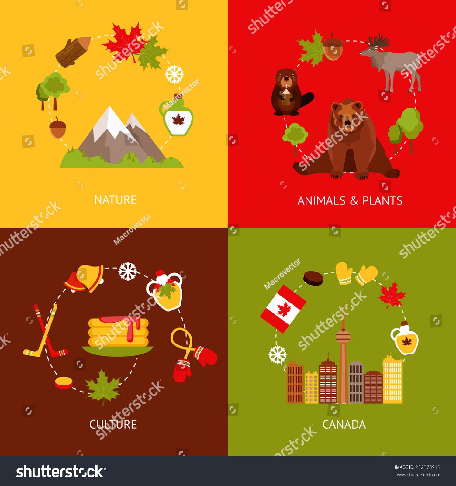 加拿大彩色平面图标组与自然动物植物文化孤立的矢量