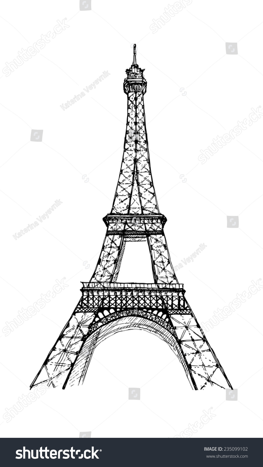 手绘埃菲尔铁塔-建筑物/地标,艺术-海洛创意(hellorf)
