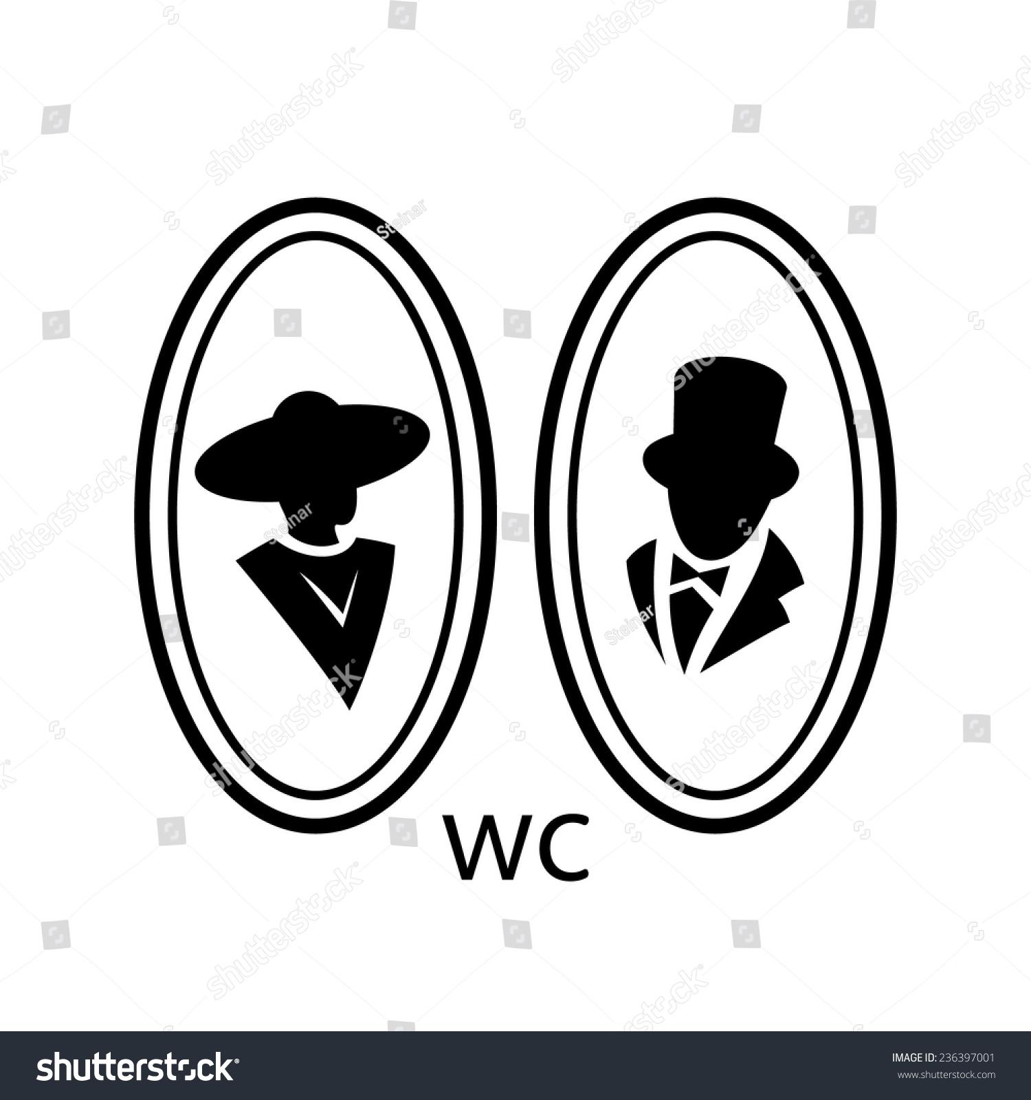 一个白色背景上的厕所标志男女厕所标志-人物