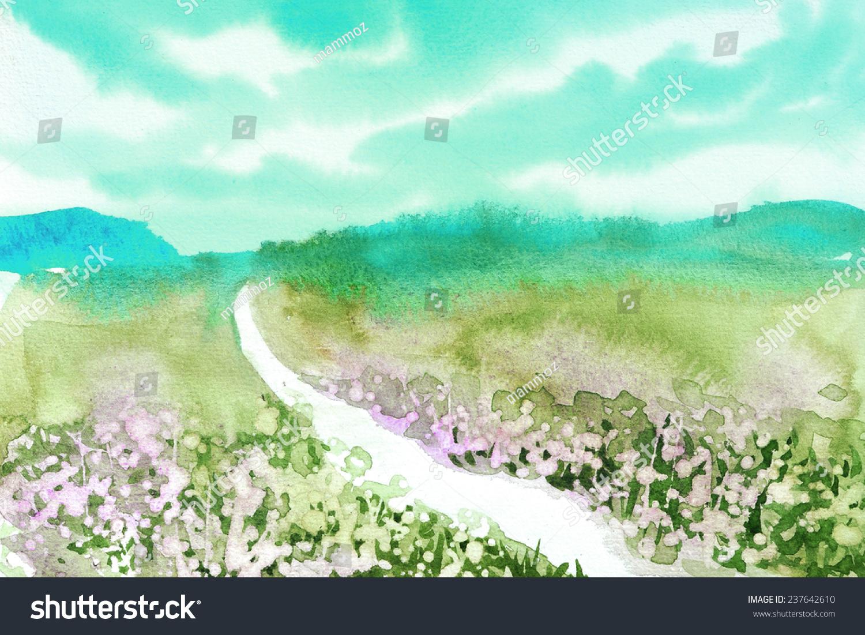 花和天空原创手绘水彩风景-背景/素材