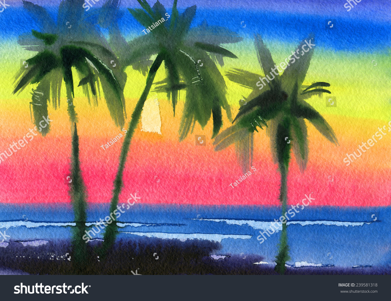 手绘明信片 海滩主题