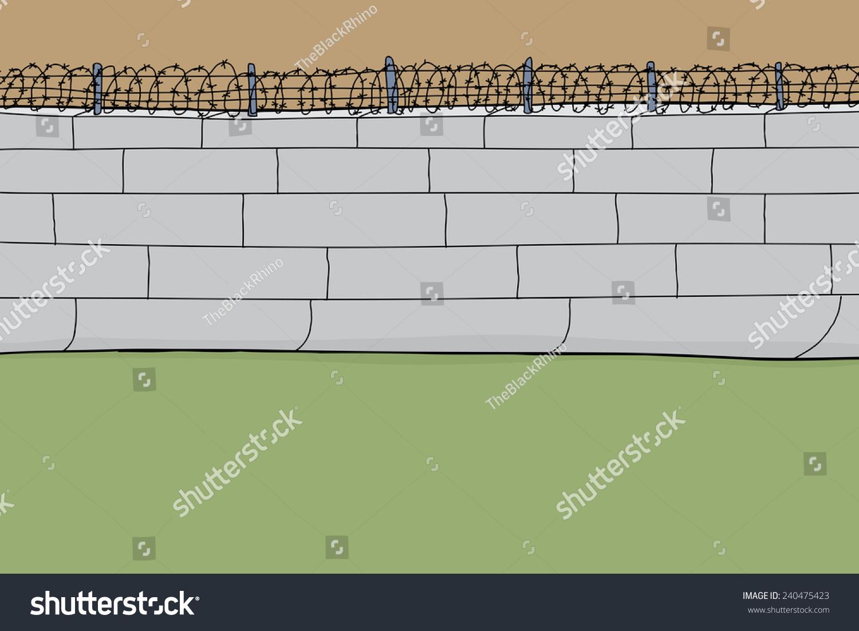 手绘铁丝网墙卡通背景-建筑物/地标,背景/素材-海洛()
