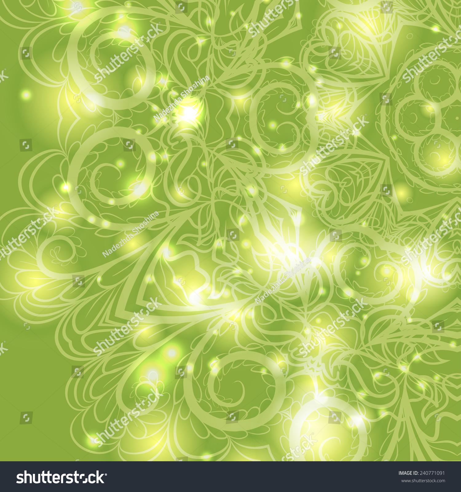 绿色背景下的花卉图案-背景/素材