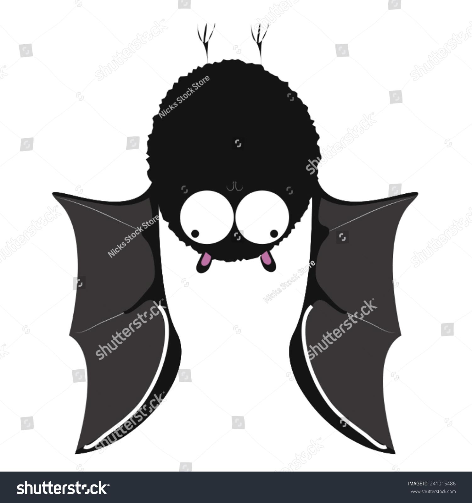 一个挂着可爱的蝙蝠.卡通蝙蝠挂在天花板和他的翅膀