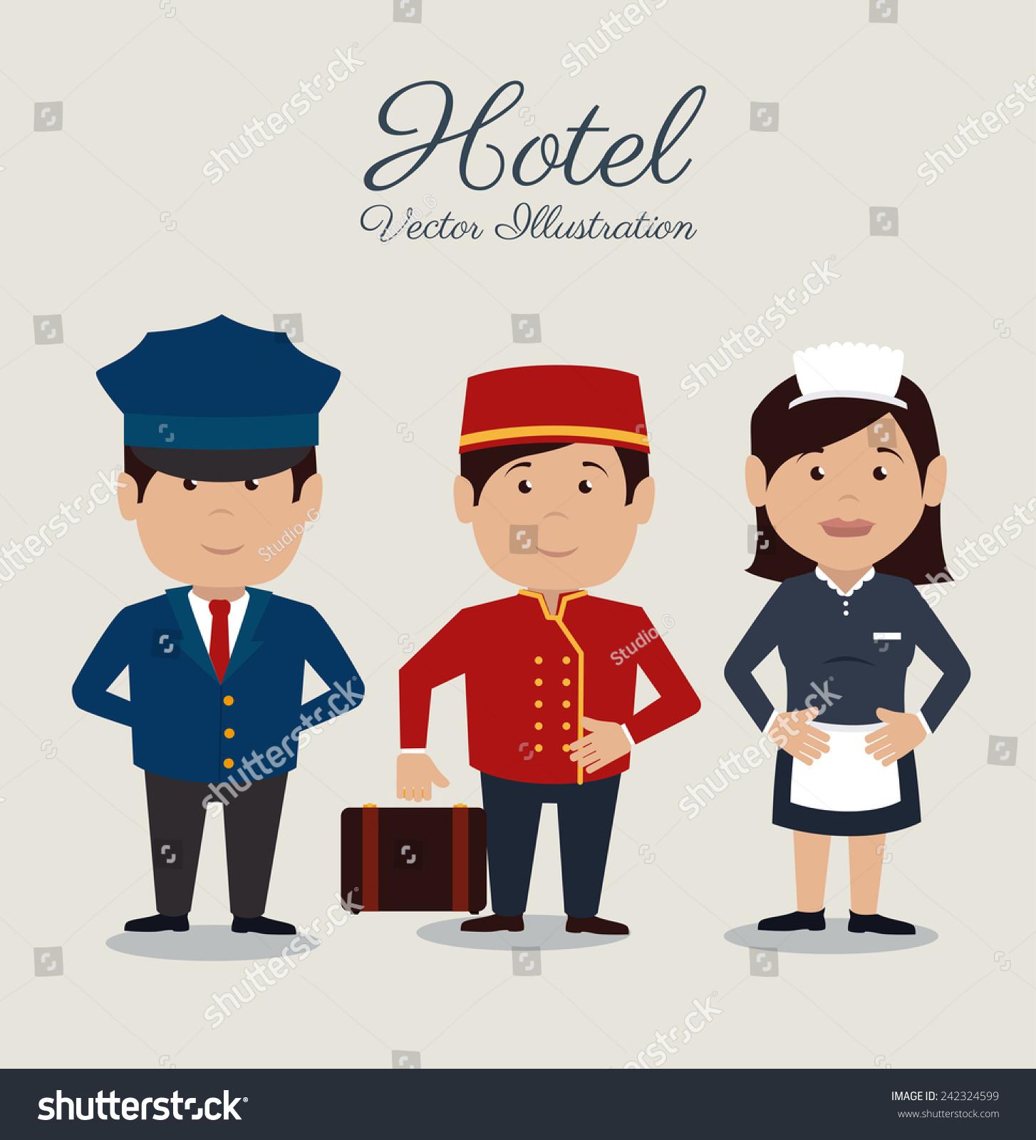 酒店设计在灰色背景,矢量插图