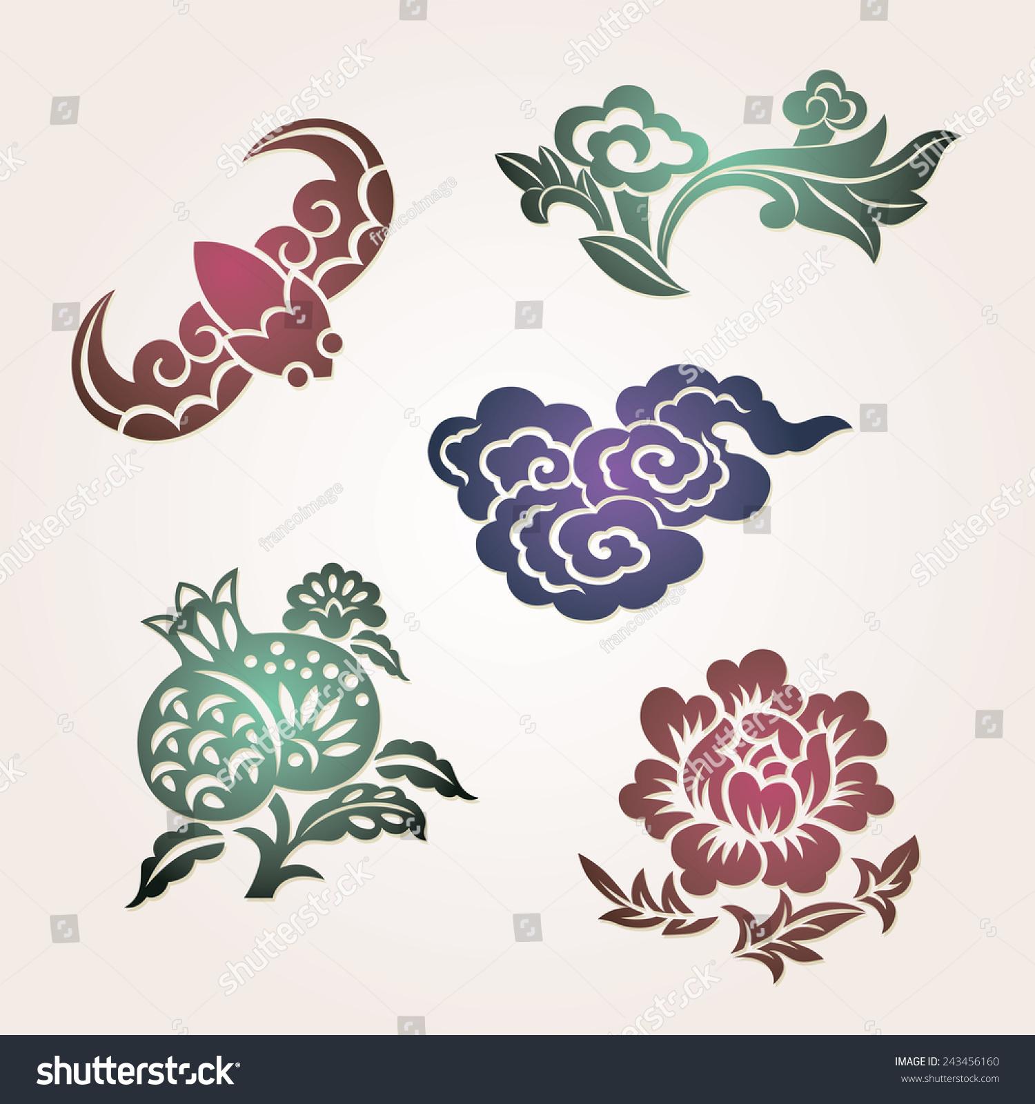 """传统吉祥符号:蝙蝠(幸福)、云(吉祥),""""如意""""(如你所愿),石榴(许多儿子),牡丹(财富) - 艺术 - 站酷海洛创意正版图片,视频,音乐素材交易平台 - Shutterstock中国独家合作伙伴 - 站酷旗下品牌"""