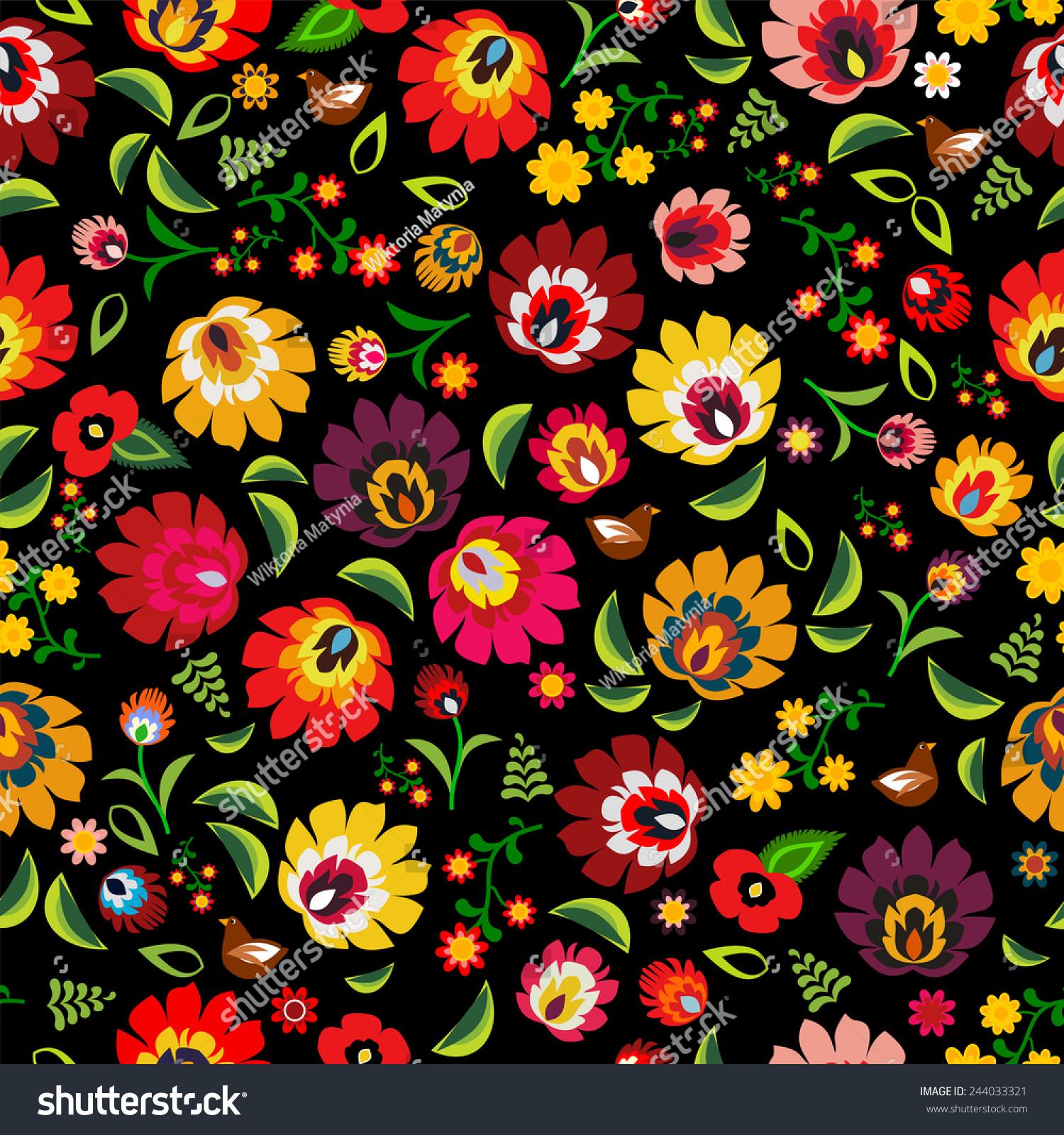 波兰民间传统花卉图案