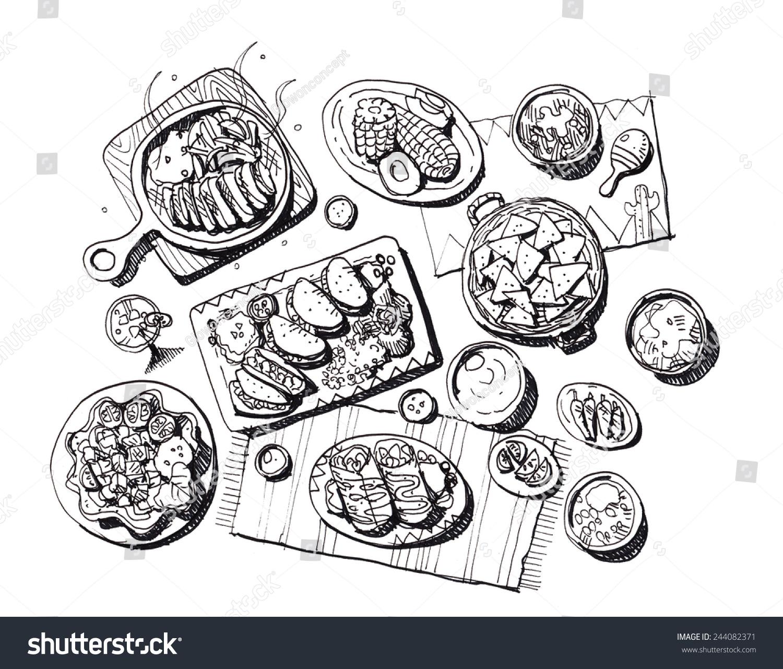 全套的墨西哥食物手绘插图-食品及饮料