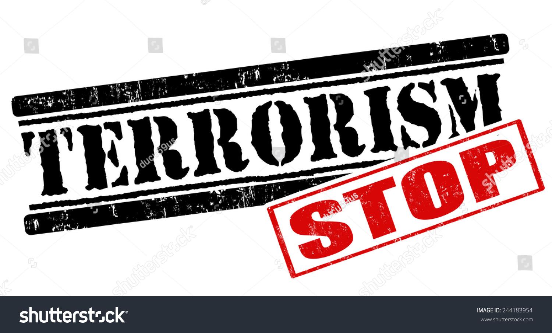 阻止恐怖主义垃圾橡皮图章在白色背景矢量图-符号