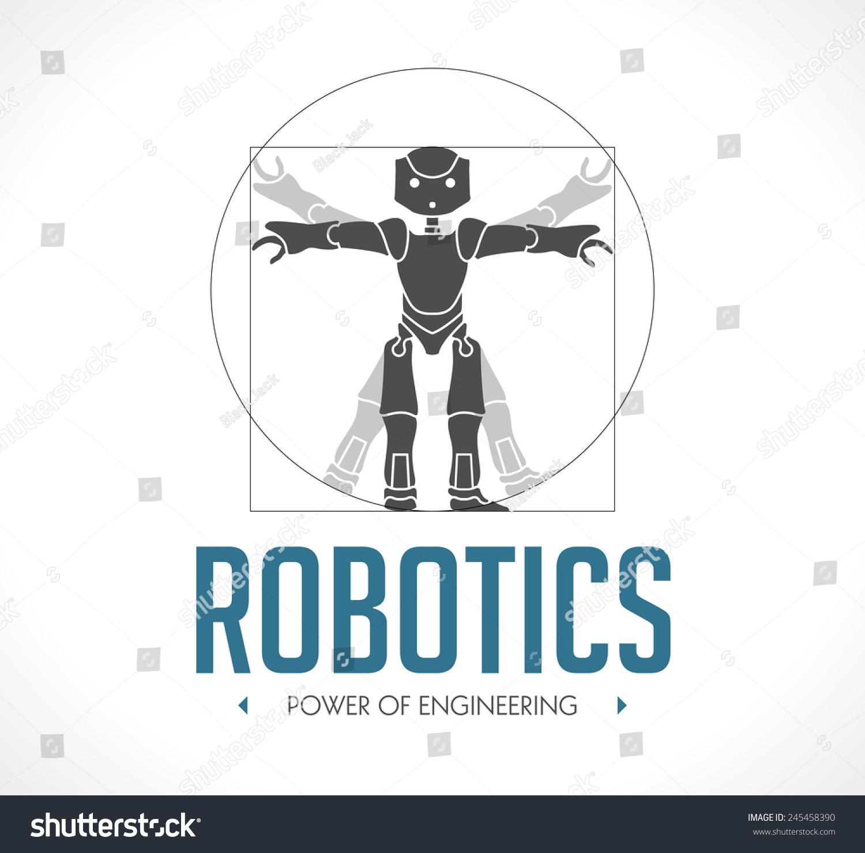 标志——机器人——维特鲁威人——达芬奇-科技,符号