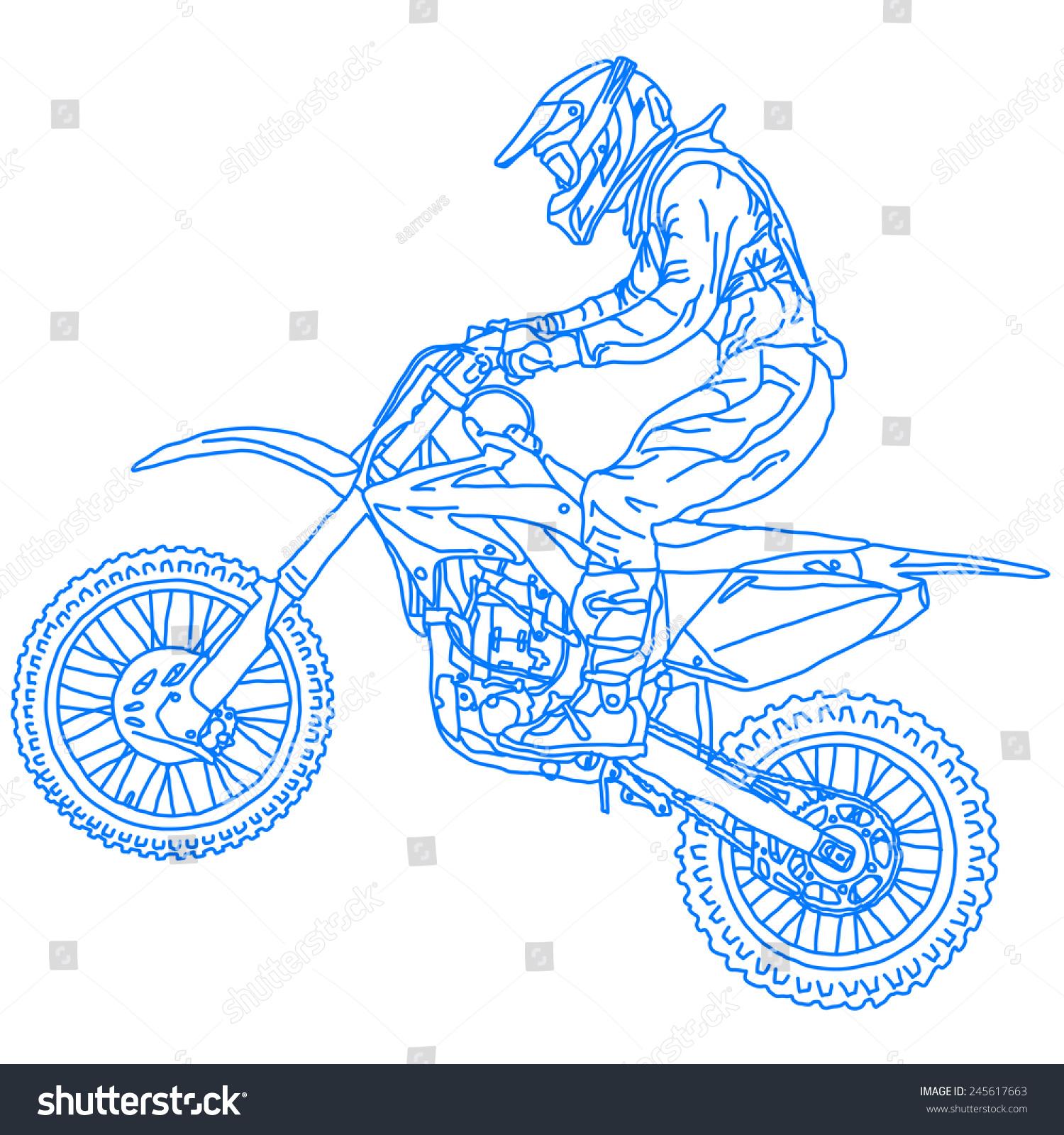 轮廓摩托车越野赛车手.插图