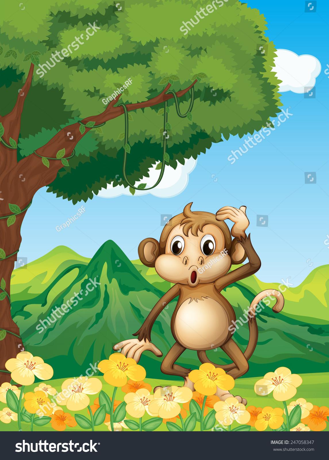 一只猴子在森林里-动物/野生生物-海洛创意(hellorf)