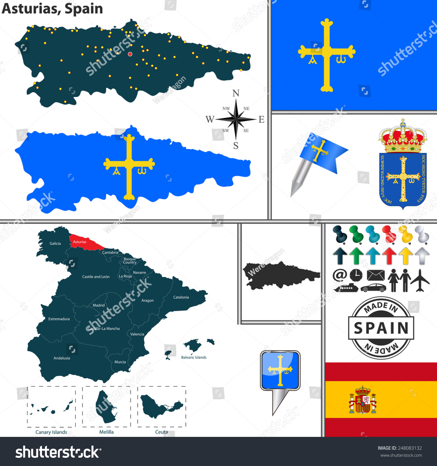 矢量地图的地图上西班牙阿斯图里亚斯的纹章和位置