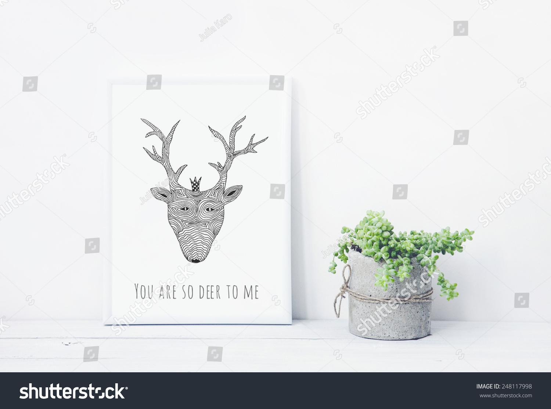 有趣的手绘海报你鹿我多汁的diy混凝土罐.斯堪的纳维亚风格的室内空间