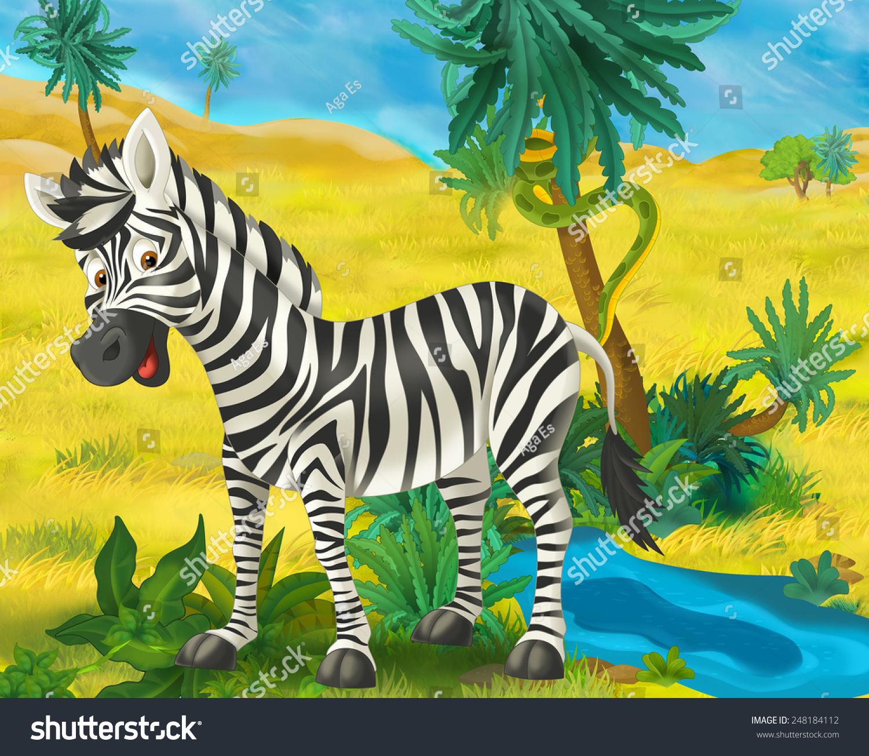 卡通场景-非洲野生动物-斑马插图为孩子们-动物/野生
