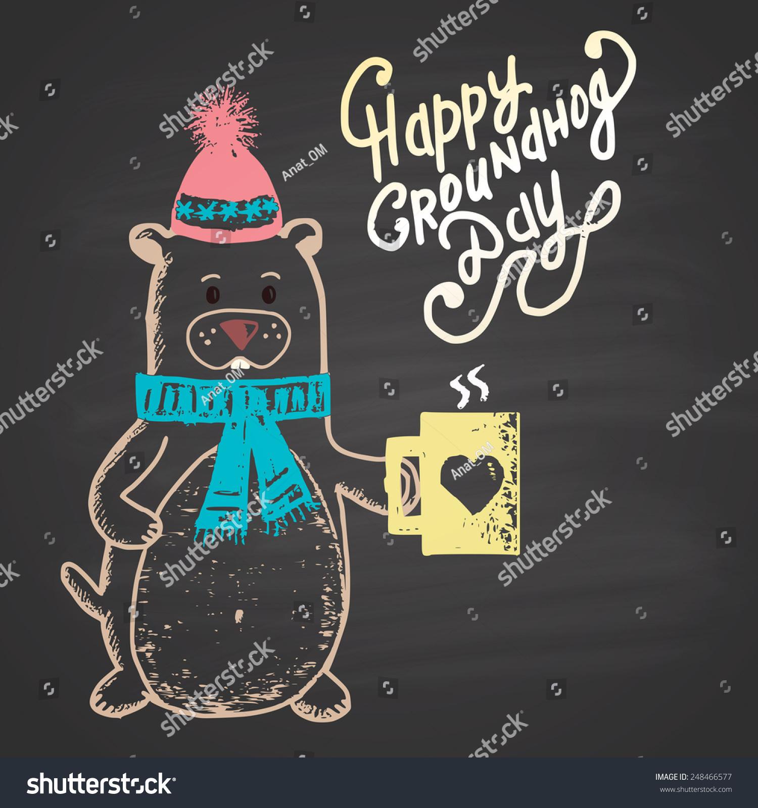 彩色粉笔画插图与土拨鼠,杯子和文本.快乐的土拨鼠日.