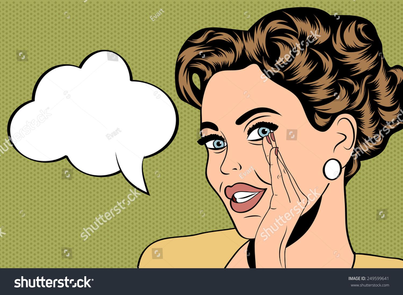 波普艺术可爱的漫画风格与复古的女人的消息,矢量插图