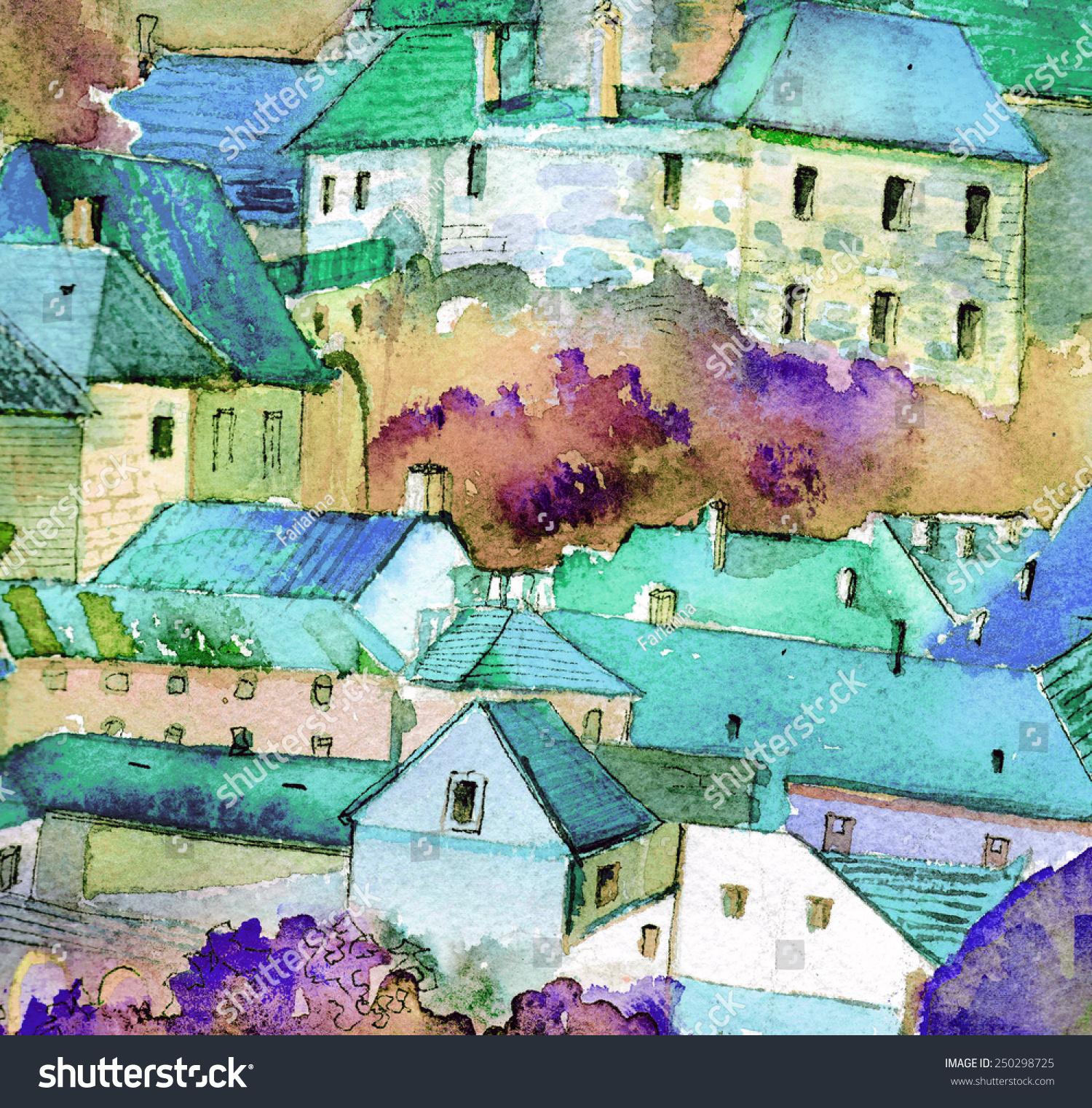 美丽的捷克欧洲小镇手绘油画水彩插图海报丙烯酸绘画